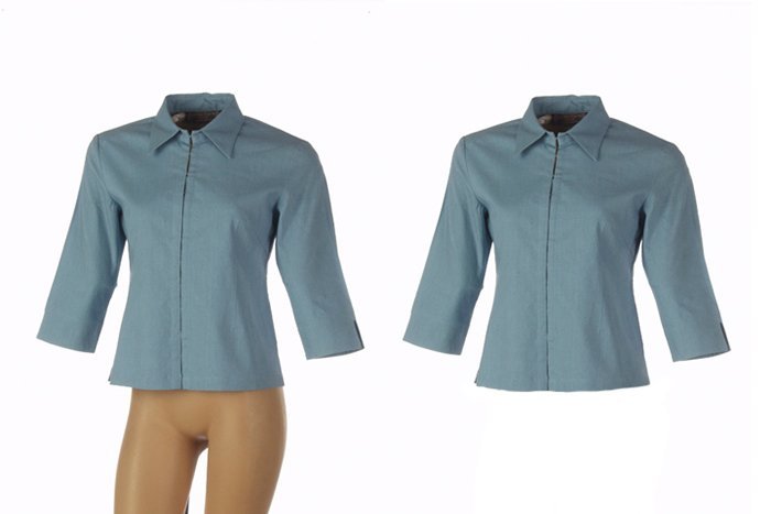 a product photography sot of a blue short sleeved shirt