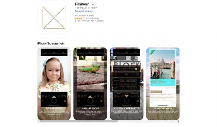 A screenshot of the Filmborn homepage