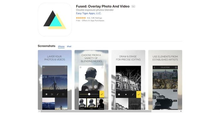 A screenshot of the Fused photo apps homepage