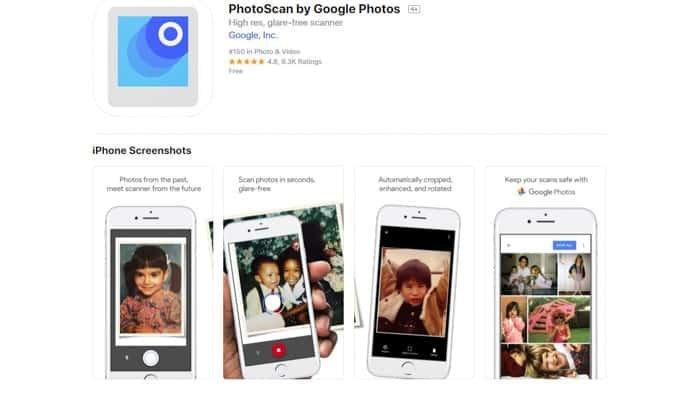 screenshot of Photoscan by Google Photos homepage
