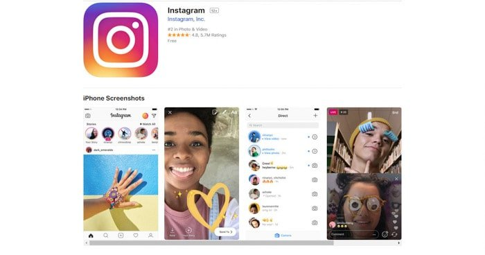 screenshot of the Instagram homepage