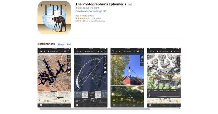 screenshot of the Photographers Ephemeris photography app