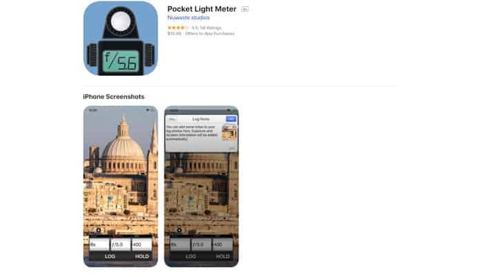 A screenshot of the Pocket light meter homepage