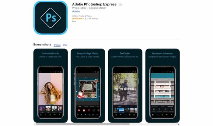 Screenshot of Adobe Photoshop Express editing apps for android & iPhone