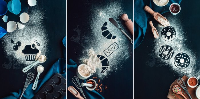Dark and atmospheric food photography triptych with flour, cinnamon, butter and cooking utensils on a dark surface