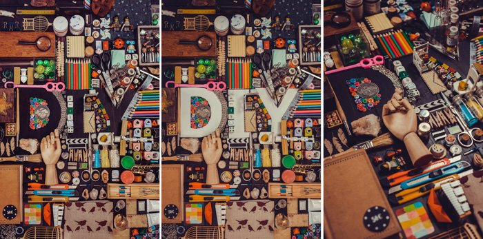 A creative still life triptych with the silhouette of the word 'DIY' comprised of many small objects