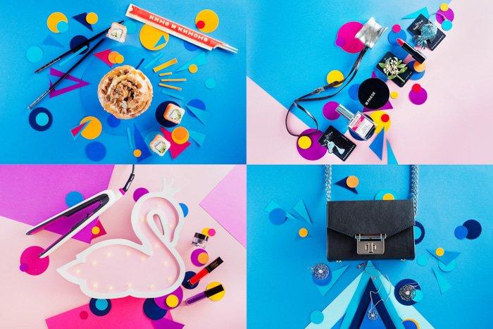 Four photo grid of colorful flatlay ideas