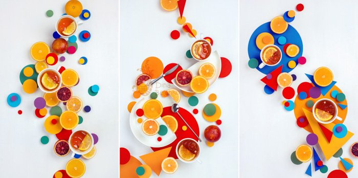 Three photo grid of colourful abstract flatlay