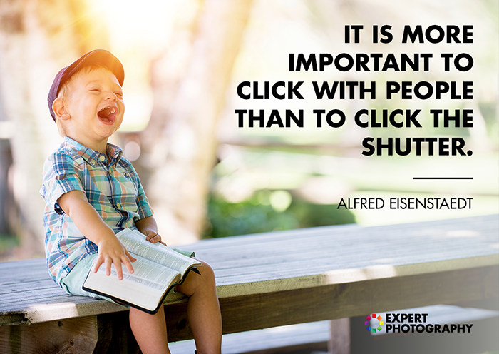 A bright and cheerful image of a little boy sitting on a bench shot overlayed with a quote from