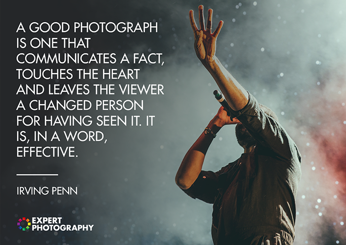 An atmospheric live concert photography shot overlayed with a quote from Irving Penn