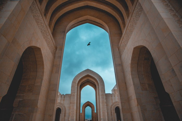 Evening shot of Sultan Qaboos Grand Mosque in Oman - architecture photography composition