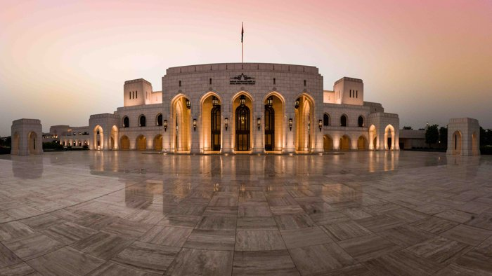 A panorama of the exterior of the Royal Opera house Muscat