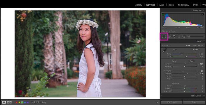 editing a photo of a woman wearing a flower crown in lightroom