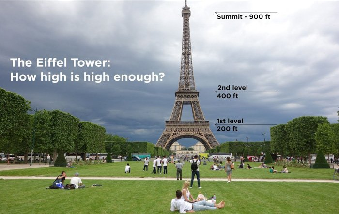 A photo of the Eiffel tower with arrows pointing to the different heights of the towers