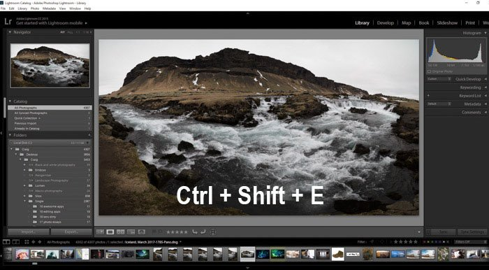 A screenshot showing how to export photos from Lightroom using a landscape photo