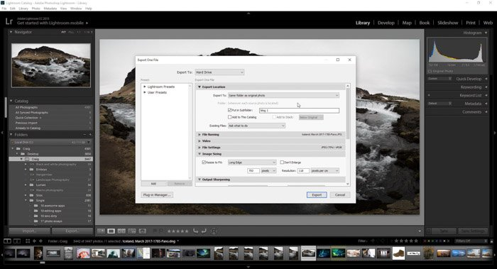 A screenshot showing how to export photos from Lightroom using a landscape photo - lightroom export settings