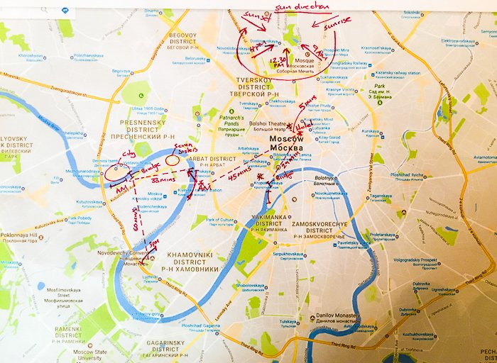 a map of Moscow with red marker scribbles of a travel plan