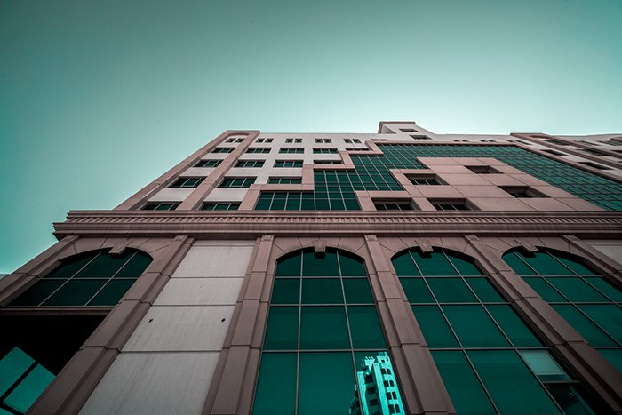 A fine art photography shot of an architecturally interesting building from an interesting angle