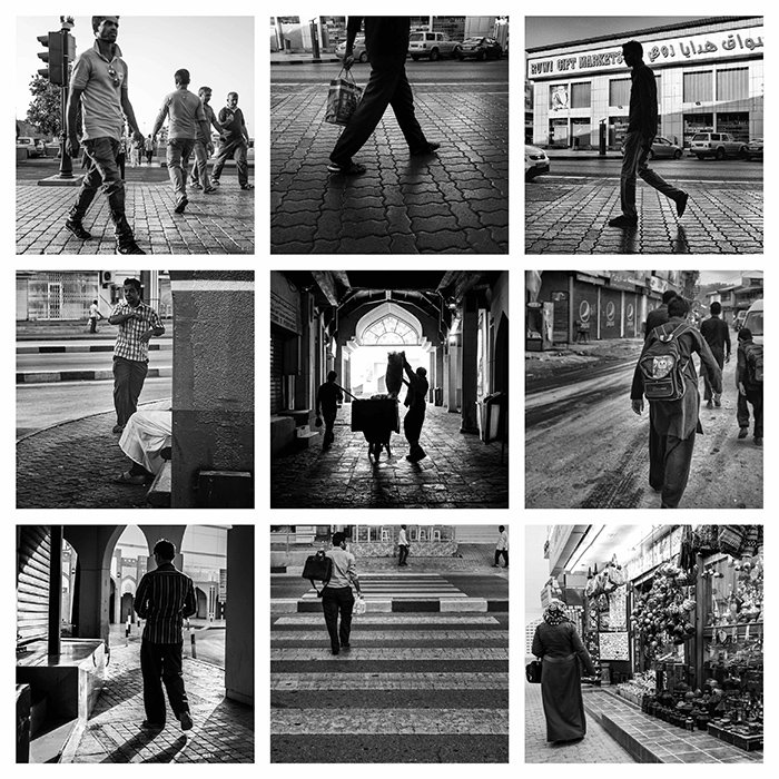 a 9 photo grid, each showing a different black and white street photography shot