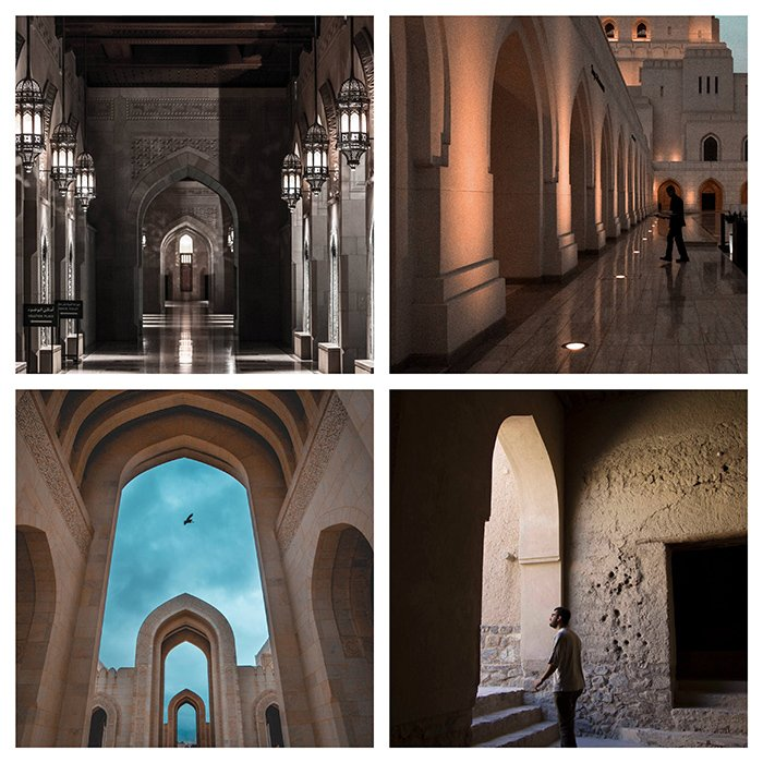 A four photo grid of the interior of a church or temple