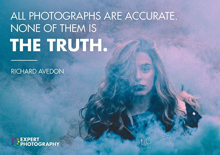 An atmospheric portrait portrait of a female model emerging from coloured smoke, overlayed with a quote from famous photographers Richard Avendon about what makes a good photograph