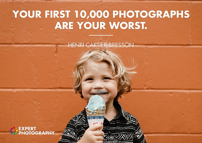 A bright and cheerful portrait of a little bou eating an ice-cream in front of a red brick wall, overlayed with a quote from Henri Cartier Bresson - good photography quotes from famous photographers