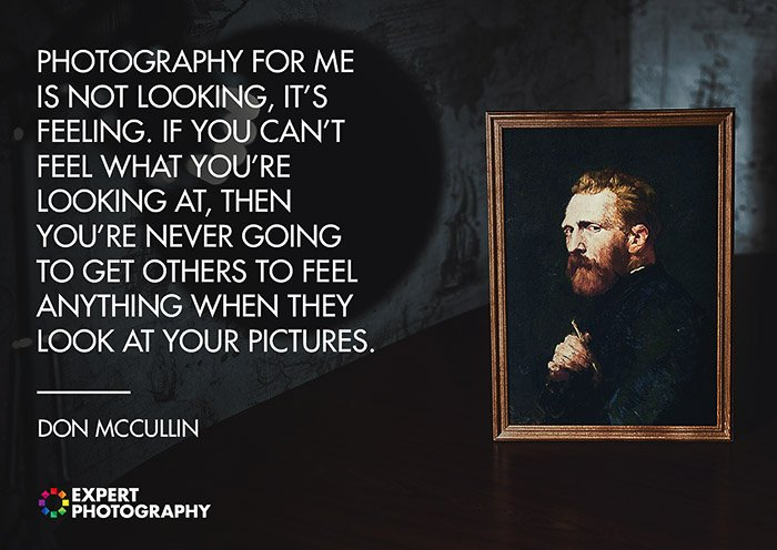 A dark and atmospheric image a framed portrait painting overlayed with a quote about what makes a good photograph by Don McCullin