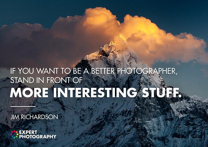 A majestic mountainous landscape shot overlayed with a quote about good photography from Jim Richardson