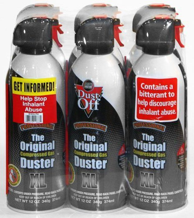 A packet of 6 bottles of Falcon Dust-Off Professional Compressed Gas