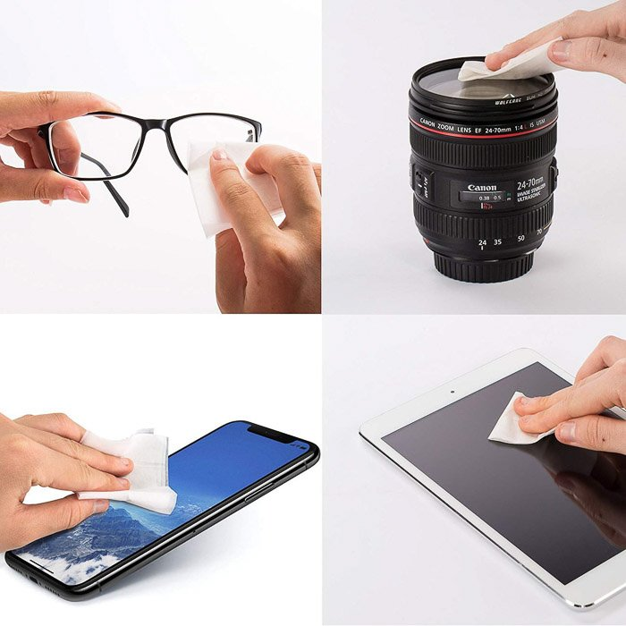 A four photo grid showing how to clean a camera lens with the Zeiss Pre-Moistened Lens Cleaning Wipes