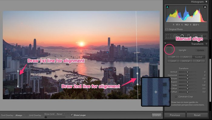 A screenshot of drawing alignment lines for cropping photography in Lightroom