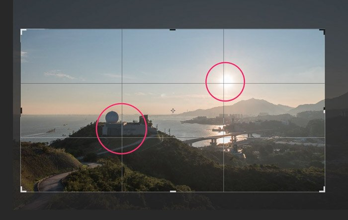A screenshot of cropping photography in Lightroom