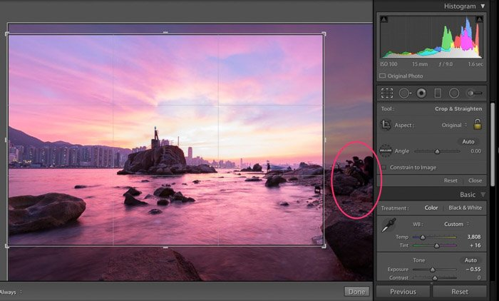 A screenshot showing how to crop away the boring parts of a landscape picture in Lightroom