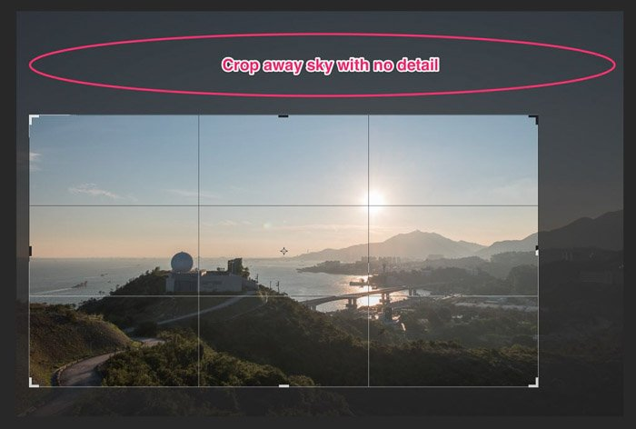 A screenshot showing how to crop away the sky in a landscape photo a picture in Lightroom