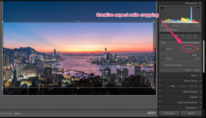 A screenshot showing how to use creative aspect ratio cropping in Lightroom