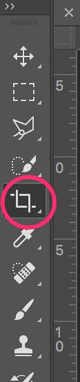 A close up of the crop tool on Photoshop