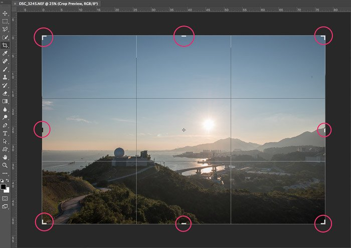 A screenshot of how to crop a photograph on Photoshop