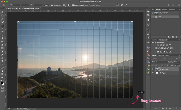 A screenshot of how to crop a photograph on Lightroom