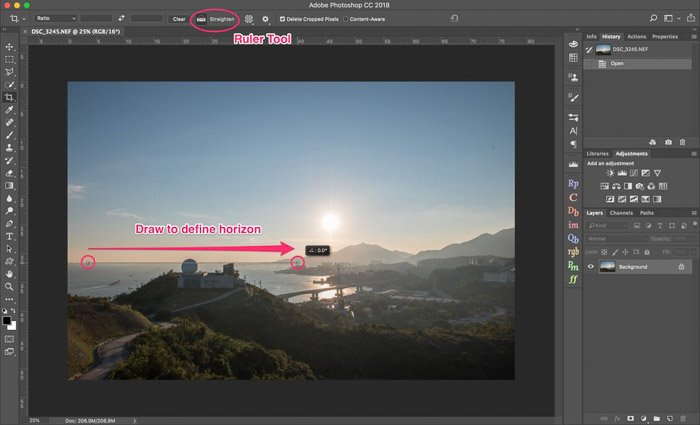 A screenshot of how to crop a picture on Lightroom
