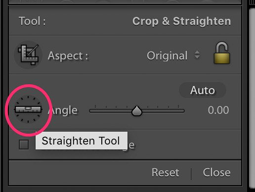 A screenshot of selecting the straighten tool on Lightroom