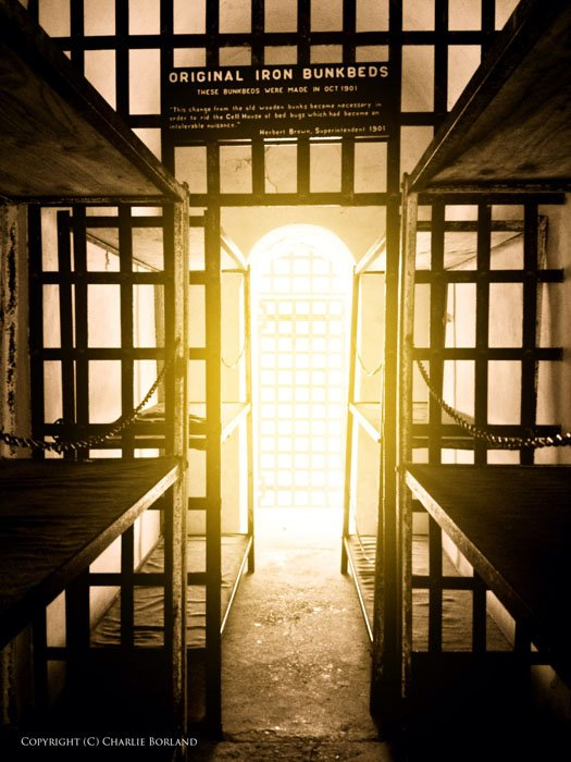 Bunkbeds in a prison or police cell taken with iphone photography