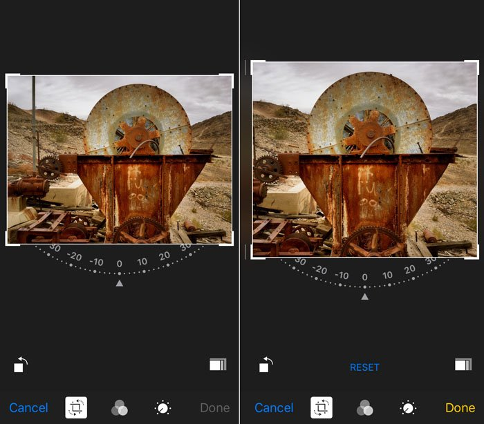 Screenshot of cropping photos on an iphone photography camera