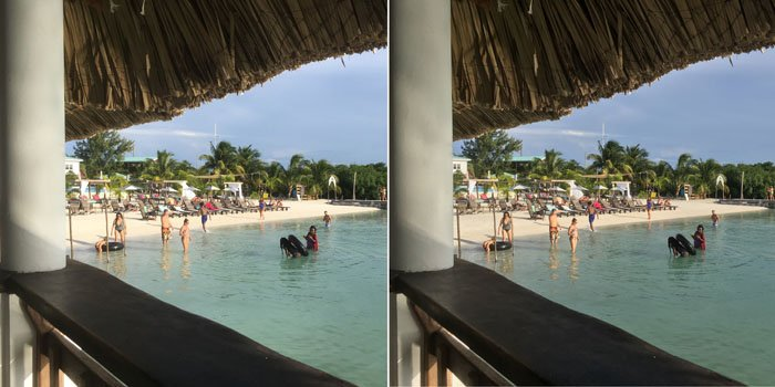 A diptych of the same shoto of a beach, the right one has used HDR for iphone photography