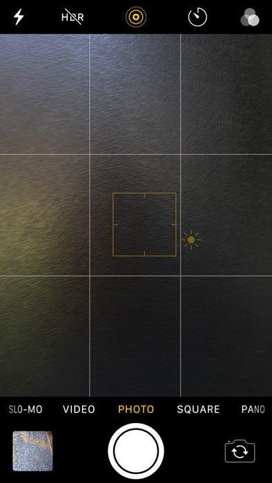 A screenshot of an iphone photography camera capturing an image of water
