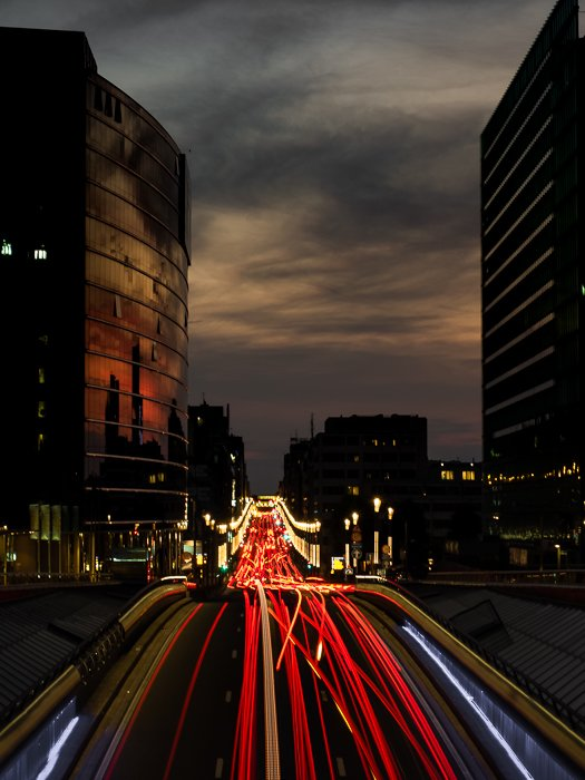 Lightrails on a busy motorway right before nightfall.