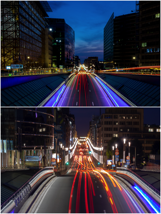 A diptych showing light trails of traffic captured at different focal lengths