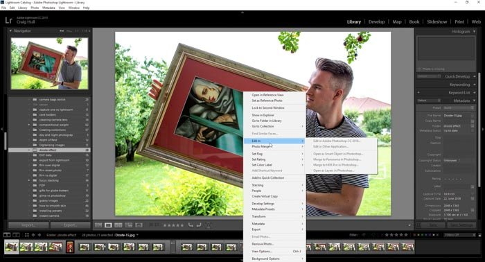 A screenshot showing editing a photo within Lightroom workflow