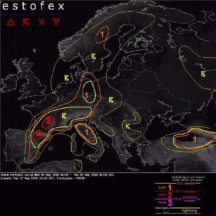 A screenshot of 'Estofex' Best Landscape Apps for weather forecast