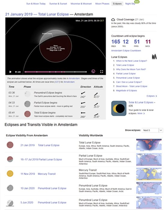 A screenshot of 'Time and Date' landscape Apps for Any Eclipse