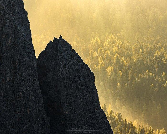 Mountains at Cinque Torri in the Italian Dolomites at sunset